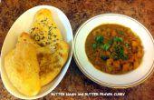 Naan y Curry de camarón mantequilla de mantequilla