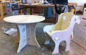 Mesa de madera y silla con sólo las articulaciones