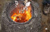 Quemar la concha cal en un horno primitivo paja/arcilla!