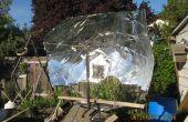 Hacer un plato solar parabólico de una lámina de plástico de 8 por 4 (sin demasiada basura)