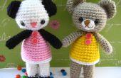 Patrón de ganchillo amigurumi dos osito Amanda y Annie