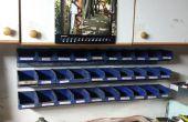 Contenedores de almacenamiento apilable de antiguas placas de montaje