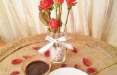 Rosas de fresa de mesa centro de mesa y motor de arranque