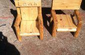 Silla de madera reclamada rústico registro infantil