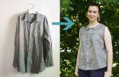 Upcycle de camisa de hombres en verano Retro blusa