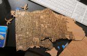 Corte láser madera mapas con datos públicos