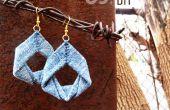 Pendientes de dril de algodón reciclado DIY Tutorial de joyas por upmade