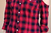 Upcycle con frío hombros una camisa de franela Thrifted $3