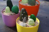 Pintar cactus piedra para cubierta o el patio