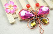 Alambre embalaje joyería Tutorial hacer un broche de mariposa Vintage con perlas