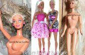 Restauración de una muñeca Barbie moderna con enmarañado pelo