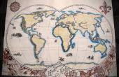 Pluma y tinta Vintage mapamundi