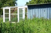 Efecto invernadero DIY estilo terraza, sunspace, vestíbulo del tiro, de ventanas de madera y vidrio recuperadas. Véranda Serre. Bricolaje ecologico - Terraza invernadero