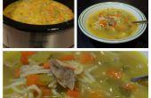 Simple asado pollo sopa de fideos en la olla