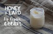 La miel y la crema de reparación de labios de manteca de cerdo