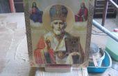 Iconos religiosos con soporte de madera