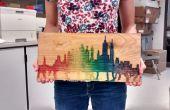 Arte de pared de madera agua Color horizonte arco iris