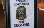 Zombie vegano cruz puntada + patrón
