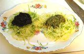 RAW Vegan calabacín rojo y Pasta verde