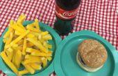 Apoyo falso cena comida hamburguesas, Chips, patatas fritas, perritos calientes para grasa Musical