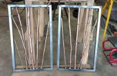 Cobre y latón de bambú en acero marco escultura colgante de pared