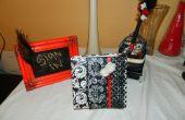 Muestra de decoración, pluma y libro de visitas de reciclado de la boda