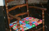 Renovado la silla mecedora con cintas de volver a utilizar mosquitera.