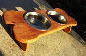Mesa de tazón de fuente de madera perro de punto