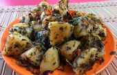Versión India Aloo Meethi instantánea. Snack de patata alholva
