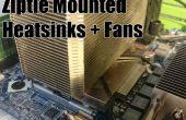 Disipador térmico montado en Ziptie y Fans