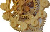 Un reloj de engranajes de madera con un mecanismo único