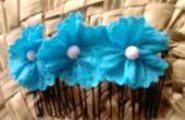 Peine del pelo flores azul