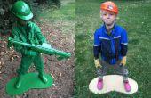 Ejército plástico hombre viviente estatua traje