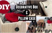 Caja decorativa suéter y NO cosen funda de almohada de suéter viejo