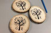 DIY serigrafía en posavasos de madera para regalo de boda de