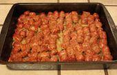 Un Pan salchicha, pimiento y cebolla