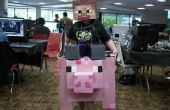 Montar un cerdo Minecraft cartón halloween traje de Steve