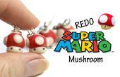-Pendientes Super Mushroom Mario - arcilla del polímero de la etiqueta de #Redo