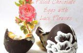 Lleno de huevos de Chocolate con flores de encaje