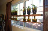 Colgante reciclado vino botella jardinera estantes