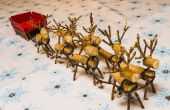 Miniatura madera renos y trineo
