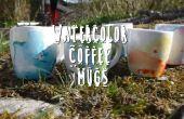 Tazas café acuarela DIY