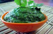 Saludable y delicioso Chutney indio verde (Dip)