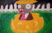 Cómo dibujar (Plants vs Zombies) Zombie sentado en una calabaza.