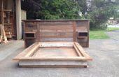 Chatarra madera cabecero y cama de plataforma