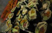 Aguacate de patata dulce de quinua + Sushi de avestruz.