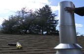 Instalación de tubería de chimenea de madera de la estufa a través de un techo plano