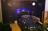 Estación espacial muelle dormitorio con cama nave espacial luz