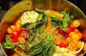 Una olla Wonder - receta de espaguetis albahaca tomate