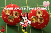 Minnie Mouse inspirado pendientes botón